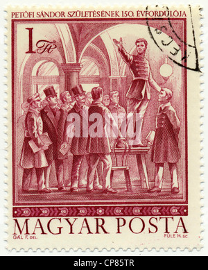 Historic postage stamps from Hungary, the poet and national hero Sandor Petrovic, Historische Briefmarke, der Dichter - Stock Photo