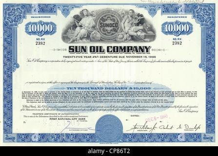 Historical stock certificate of an oil and gas company, Sun Oil Company, Ohio, USA, 1965, Wertpapier, historische - Stock Photo