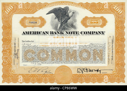 Historic share certificate, detail of the vignette, eagle, American Bank Note Company, ABNC, printing office for - Stock Photo