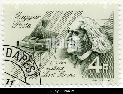 Historic postage stamps from Hungary, Historische Briefmarke, Franz Liszt, 1986, Ungarn, Europa - Stock Photo