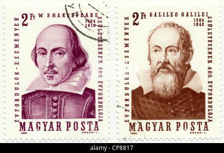 Historic postage stamps from Hungary, Historische Briefmarke, William Shakespeare, Galileo Galilei, 1964, Ungarn, - Stock Photo