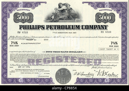 Historical stock certificate of an oil, gas and energy company, Phillips Petroleum Company, today part of ConocoPhillips, - Stock Photo