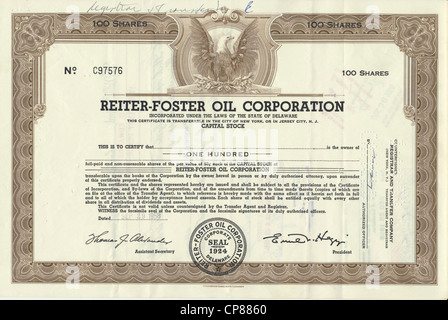 Historical stock certificate of an oil and gas company, Reiter-Foster Oil Corporation, Delaware, USA, 1958, Wertpapier, - Stock Photo