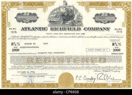Historic stock certificate, image of a young woman holding a globe, oil rigs and an oil refinery at the back, oil - Stock Photo