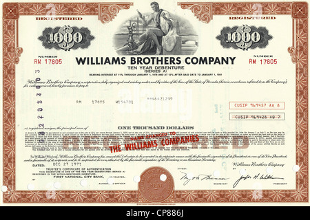 Historical stock certificate of an oil and gas company, oil pipeline, energy company, Williams Brothers Company, - Stock Photo