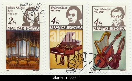Historic postage stamps from Hungary, Historische Briefmarke, Johann Sebastian Bach, Frederic Chopin, Luigi Cherubini, - Stock Photo