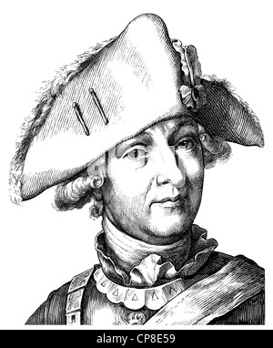 Friedrich Wilhelm Freiherr von Seydlitz-Kurzbach, 1721 - 1773, a Prussian cavalry general, the most important cavalry - Stock Photo
