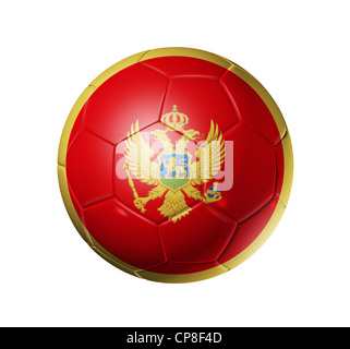 3D soccer ball with Montenegro team flag. isolated on white with clipping path - Stock Photo