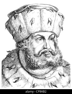 Frederick III or Frederick the Wise, 1463 - 1525, Elector of Saxony, Historische Zeichnung aus dem 19. Jahrhundert, - Stock Photo