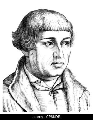 Johann Bugenhagen or Pomeranus or Dr. Pommer, 1485 - 1558, German reformer, Historische Zeichnung aus dem 19. Jahrhundert, - Stock Photo