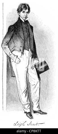 James Henry Leigh Hunt, 1784 - 1859, an English writer, Historische Zeichnung aus dem 19. Jahrhundert, Portrait - Stock Photo