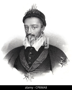 Historical steel engraving from the 19th Century, portrait, King of France from the House of Valois, Henry III of - Stock Photo