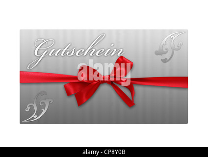 Coupon card with red loop against white background, close up - Stock Photo