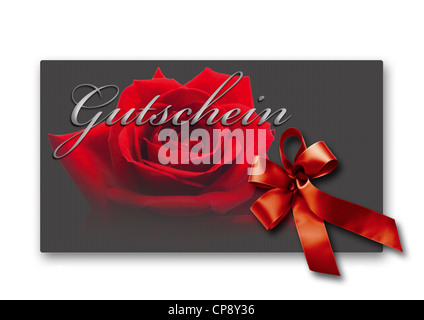 Coupon card with red ribbon and rose against white background, close up - Stock Photo