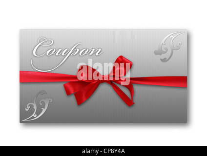 Coupon card with red ribbon against white background, close up - Stock Photo