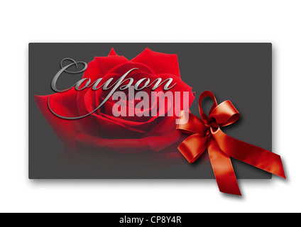 Coupon card with red rose and ribbon against white background, close up - Stock Photo