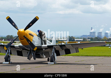 North American Aviation P-51 Mustang fighter of WW2 'Ferocious Frankie' at Abingdon Airshow 2012 - Stock Photo