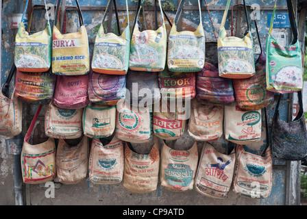 Bags for sale at Kathmandu market - Stock Photo