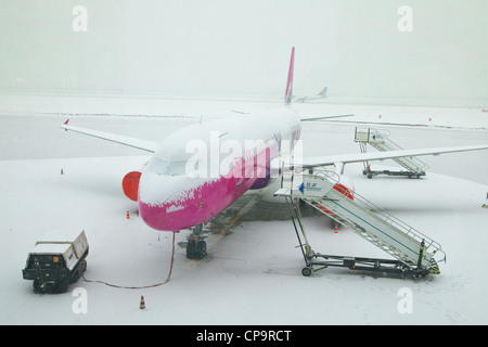 Grounded plane because of a snowfall, Katowice airport, Poland - Stock Photo