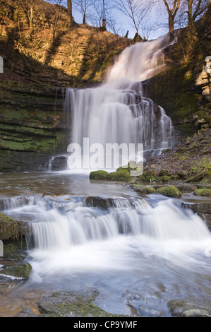 Scaleber Force Waterfall in idyllic peaceful countryside (stream water flowing over rocky cliff into pond near Settle, - Stock Photo