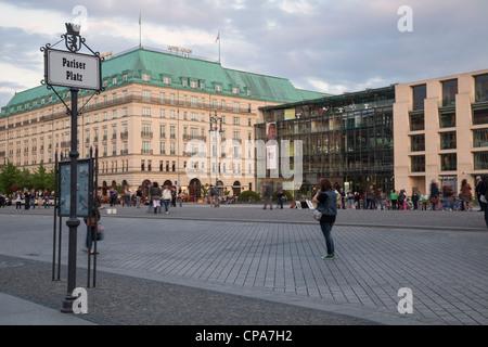 Pariser Platz with Hotel Adlon and Akademie der Kunste, Berlin, Germany - Stock Photo