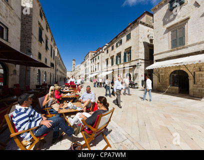 Dubrovnik, Croatia - Placa or Stradun (square or street) the main pedestrian street of the old walled city. - Stock Photo