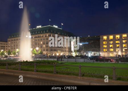 Pariser Platz with Hotel Adlon and Akademie der Kuenste, Berlin, Germany - Stock Photo