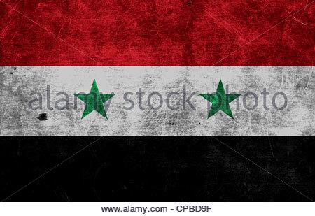 dirty flag of Syria - Stock Photo
