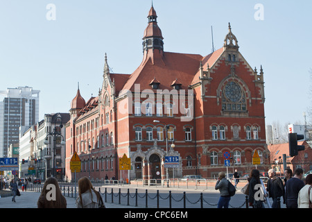 Neo-Gothic building of Mickiewicz high school in Katowice, Poland. - Stock Photo