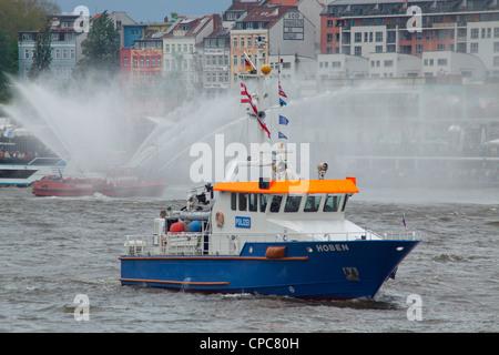 entering port parade, Harbour Birthday, Hamburg, Germany - Stock Photo