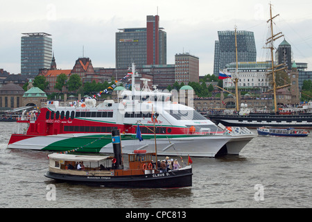 excursion boat and steamboat, entering port parade, Harbour Birthday, Hamburg, Germany - Stock Photo