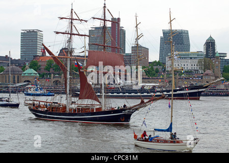 sailing ships, entering port parade, Harbour Birthday, Hamburg, Germany - Stock Photo
