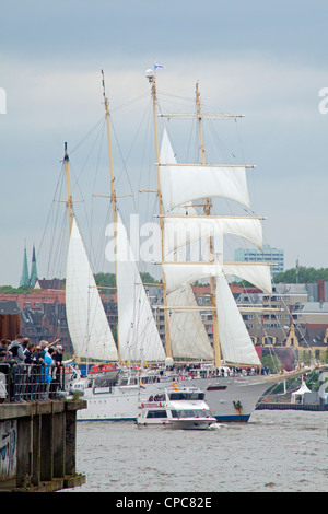 sailing ship Star Flyer, entering port parade, Harbour Birthday, Hamburg, Germany - Stock Photo