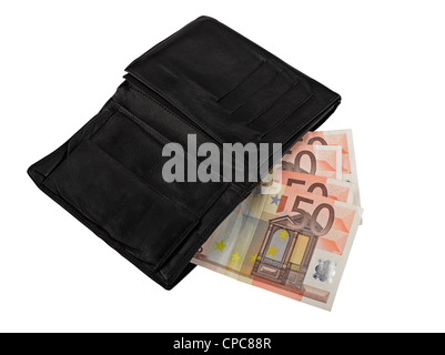 Leather wallet with some euros, clipping path - Stock Photo
