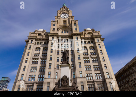 Royal Liver Building, a Grade I listed building in Liverpool - Stock Photo
