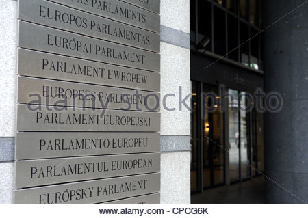 Brussels, Belgium European Parliament sign in many languages. - Stock Photo