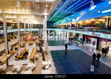 Interior of Westfield shopping centre, Stratford, London, England, United Kingdom, Europe - Stock Photo