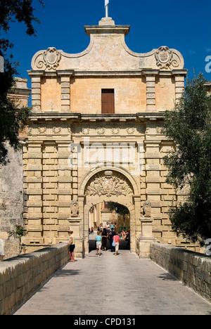 Gate to old town, Mdina, Malta, Mediterranean, Europe - Stock Photo