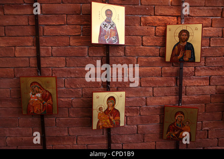 Icons are offered for sale in Ouranoupolis, Greece. - Stock Photo