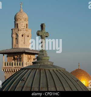 Ecce Homo dome, minaret and Dome of the Rock, Jerusalem, Israel, Middle East - Stock Photo