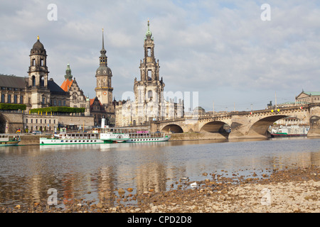 Cruise ships on the River Elbe, Dresden, Saxony, Germany, Europe - Stock Photo
