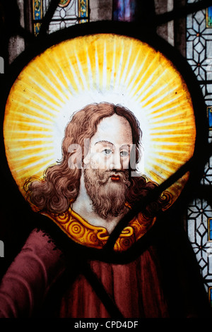 Jesus in stained glass in Saint-Etienne-du-Mont church, Paris, France, Europe - Stock Photo