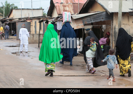 Muslim women in the street, Lome, Togo, West Africa, Africa - Stock Photo