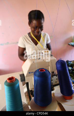 Tailoring workshop, Lome, Togo, West Africa, Africa - Stock Photo