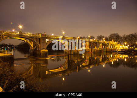 Richmond Lock on the River Thames at Night,Richmond Upon Thames,Surrey,England - Stock Photo