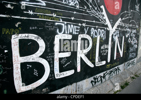 East Side Gallery, Berlin Wall Museum, Berlin, Germany, Europe - Stock Photo