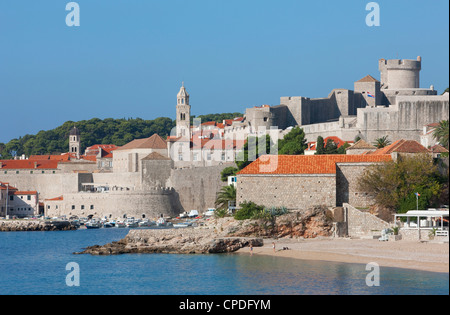 City Beach and view of Old Town, UNESCO World Heritage Site, Dubrovnik, Croatia, Europe - Stock Photo