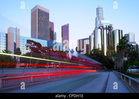 The 110 Harbour Freeway and Downtown Los Angeles skyline, Los Angeles, California, United States of America, North - Stock Photo