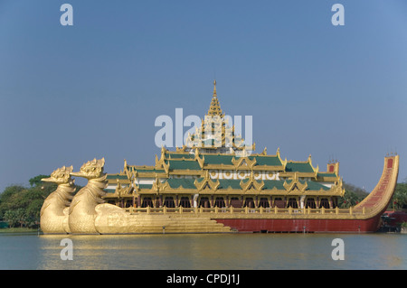 Karaweik Barge, Kandawgyi Lake, Yangon (Rangoon), Myanmar (Burma), Asia - Stock Photo
