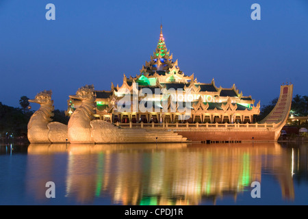 Karaweik Barge in the late evening, Kandawgyi Lake, Yangon (Rangoon), Myanmar (Burma), Asia - Stock Photo